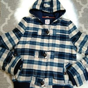 Roxy plaid thick hooded jacket Junior size Large